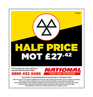 Half price MOT voucher